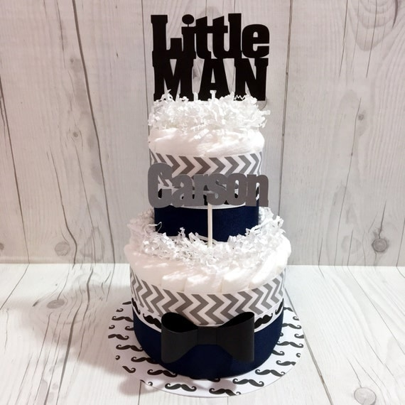 Diaper Cake Decorating Kit : Little Man 2-Tier Diaper Cake Centerpiece Kit Boy by ...