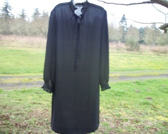 Darling 90s Black STEAMPUNK semi Sheer CHEMISE DRESS, Ruffled Collar w Tie &  Ruffles Sleeves 12