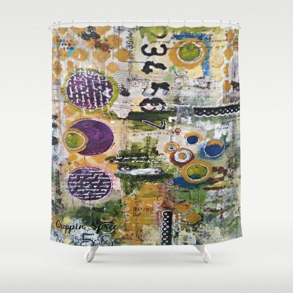 Mixed media art shower curtain