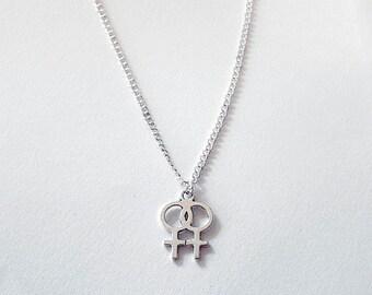 Double Venus Lesbian Symbol Necklace