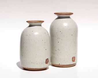Rustic white ceramic bottle vases
