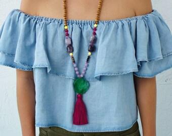 Beaded necklace - Long tassel necklace - layered necklace - boho necklace