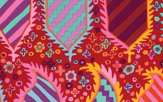 STRIPED HERALDIC RED  gp153 Kaffe Fassett Sold in 1/2 yd increments
