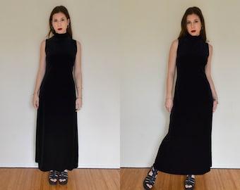 High Neck Velvet Maxi Dress