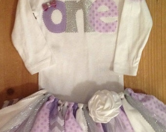 ON SALE Lavender Purple and Silver Birthday Tutu Outfit