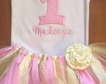 Pink, Ivory, and Gold Birthday Princess Tutu Outfit