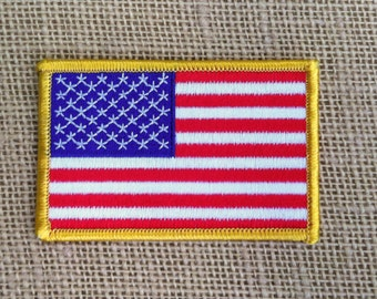 "Iron On Patch USA Flag Patch American Flag Patch for Jackets Military and Boy Scout Style Patch for Sleeve Sew On or Iron On - 3.5"" x 2.25"""