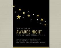 2016 Oscar Party Printable Invitation Stars