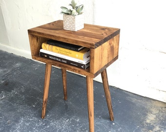 Mid century modern  inspired end table in Chestnut finish