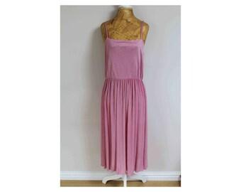 1970s dress pleated dress 1970s dress 70s dress size 10 dress size 12 dress pink dress midi dress size 12 spaghetti strap dress disco dress