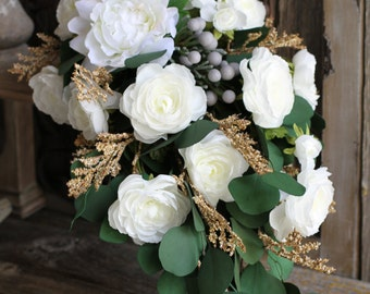 Cascading White Peony, Ranunculus & Eucalyptus Greenery Silk Wedding Bouquet