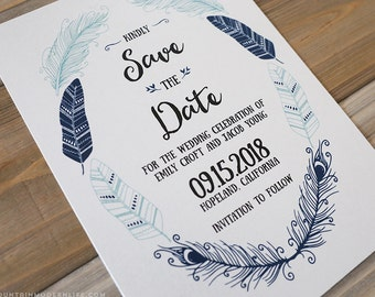 Printable Bohemian DIY Save the Date Template - Indigo