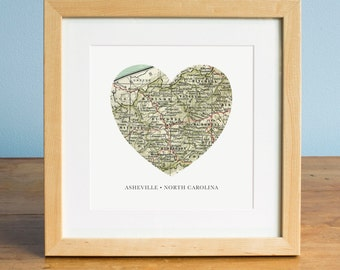 Asheville North Carolina Map, Heart Map, Asheville Map Art, North Carolina Map, Gift for Friend, Romantic Gift, Valentines Day