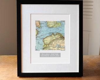 Custom Map Wedding Gift, Wedding Map, Gift for Couple, Anniversary Gift, Engagement Gift, Paper anniversary