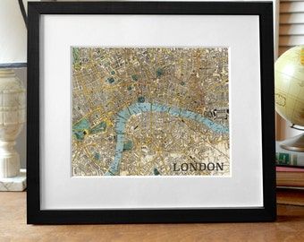 London Map Print, London Print, England Print, London England Map Print, UK Map Art