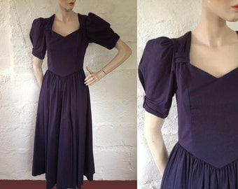 1980s Laura Ashley Midnight Blue Sweetheart Dress / 80s Laura Ashley Dress / Vintage Dress