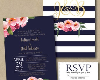 Navy stripes and pink floral printable wedding invitation
