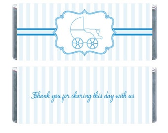 Baby Carriage Striped Candy Wrappwr Baby Shower Candy Bar Wrappers, Baby Carriage, Thank You Wrappers, Digital Candy Bar Wrapper, Blue Wrapp