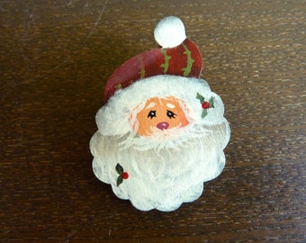 Hand Painted Wooden Brooch / Pin - Santa - Christmas Gift - Stocking Stuffer - Hostess Gift