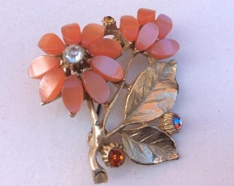 Pretty Gold Tone Floral Orange Flower and Leaf Costume Brooch - Vintage 1970s
