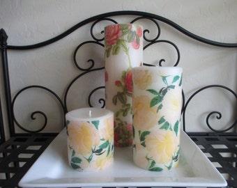 Rose Decorative Round Pillar Candle Set