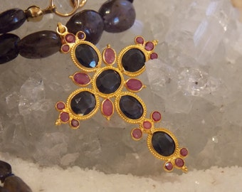 SALE - 18k Solid Gold Sapphire and Ruby Byzantine Cross