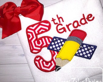 5th Grade Pencil and Ruler Appliqué Embroidery Design