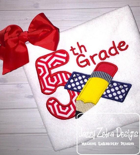 5th Grade Pencil and Ruler Appliqué Embroidery Design- 5th grade applique design - school appliqué design - teacher appliqué design