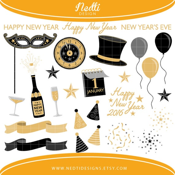 36 New Year's Eve Clipart Black and Gold Happy New Year