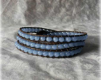 Blue Leather Wrap Bracelet with blue glass beads and brown leather