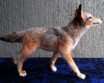 Needle Felted Wool Coyote by Carol Rossi, Little puppy dog wolf!