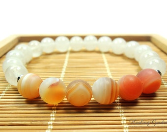 Matte Peach Agate and White Jade //  Sacral Chakra // Energy Bracelet // Healing Garden Shop
