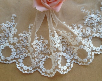 """2 yards Lace Trim Retro Ivory Cotton Circles Flower Embroidery Tulle Lace Trims 6.29"""" Wide"""