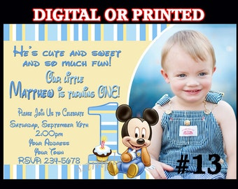 Baby Mickey Mouse First Birthday Invitation You Print Printable DIGITAL FILE or PRINTED Invitations