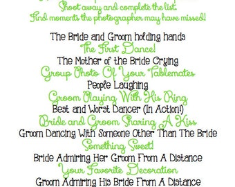 Instant Download - LEAF GREEN - I Spy Wedding Game