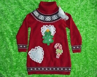Girls L 6x Ugly Christmas Sweater with bird, long sweater-dress