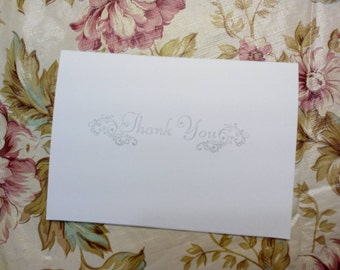 Set of 50 Thank You Cards with Silver Ink