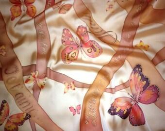 beige Silk scarf Butterflies, hand painted f silk scarf, women's day, march 8,  brown silk neckerchief