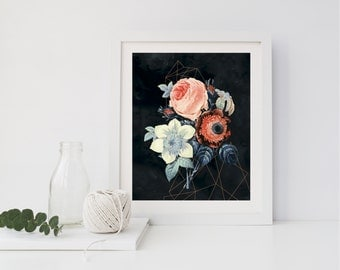 Geometric Botanical Floral Wall Art // DIY PRINTABLE //  Home Decor, Wall Art, Modern Home Decor, Floral Decor, Botanical Wall Art