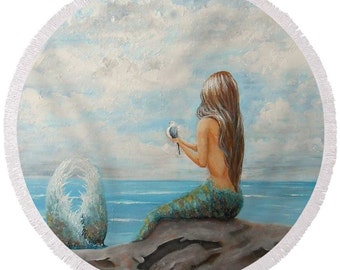 large round mermaid beach towel, mermaid festival blanket, mermaid picnic blanket, original painting by Nancy Quiaoit at NancyQart