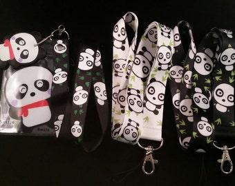 "Panda Bamboo Lanyard Key Chain ID Badge Holder Protector 18"""