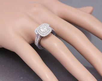EGL USA I-SI1 18K White Gold Cushion Cut Diamond Engagement Ring And Band 1.85ct