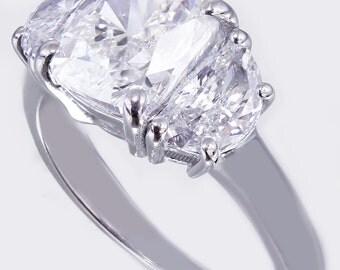 EGL USA H-VS2 18k white gold cushion cut diamond engagement ring art deco 2.80ct