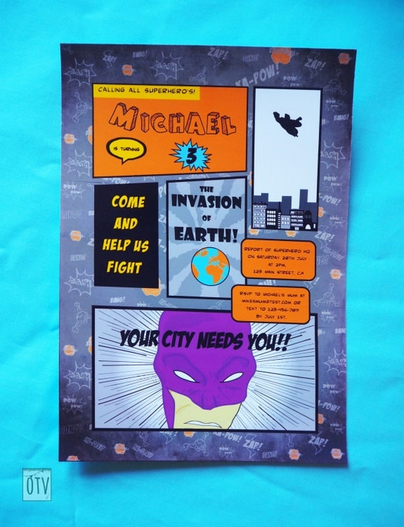 SUPERHERO Personalised Comic Book INVITATION - PRINTABLE - Digital File - Pdf