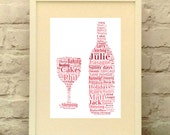 Wine Bottle Print Personalised Custom - Mothers Day - BFF - Wine Lover Gift - Wine Club - Kitchen Decor - Dining Room Decor