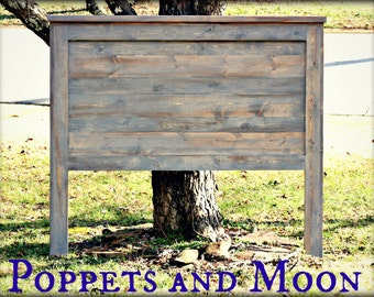 Poppets + Moon : Popular Duo! The Novec Headboard- King Queen Full Twin- Rustic Barnwood (espresso/White) and Boho/ gray planked design.