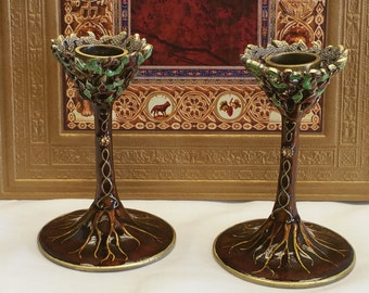 Tree of Life Candlesticks in brown earth tones. Shabbat Candle holders, Shabbos Candlsticks