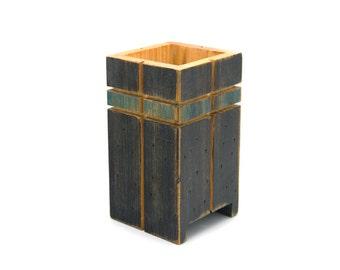 Pencil holder. Desk caddy. Wood desk organizer. Home organization. Home decor. Wooden pencil holder.