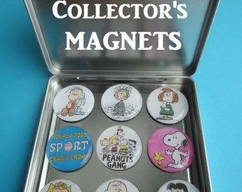 """Peanuts (9)  1"""" Frig Magnets Charlie Brown Magnets Charlie Brown Gang Frig Magnets Awesome Collector Gift  Magnetic Tin Snoopy Red Baron"""