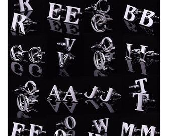 Alphabet Stainless Steel Cuff Links Alphabet Cuff Links Cufflinks Stainless Steel Wedding Cuff Links Alphabet Cufflinks Letter Cuff Links